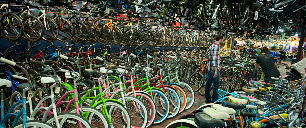 Racks and rows of bikes at University Bicycles Boulder