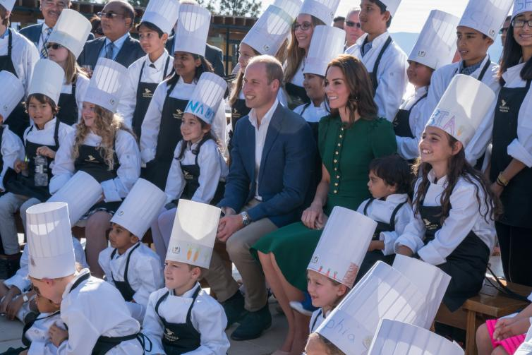 The Duke and Duchess of Cambridge Group Photo with Young Chefs