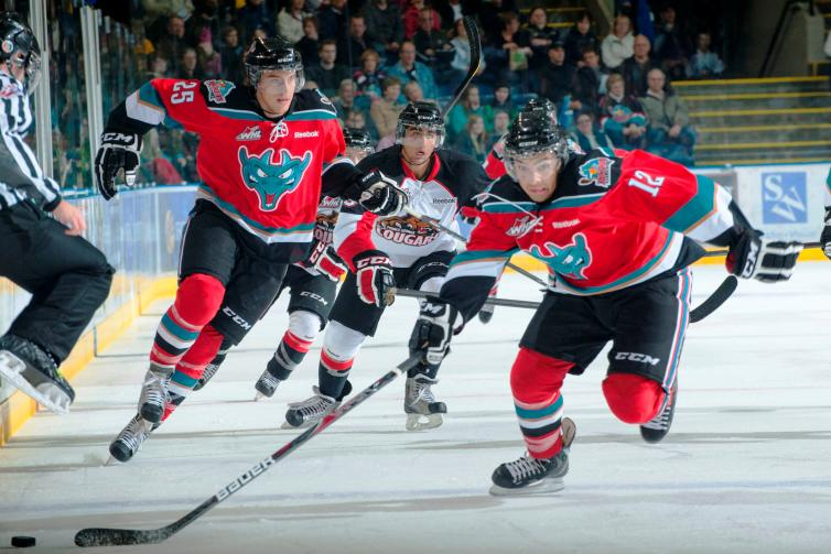 Kelowna Rockets player Tyrell Goulbourne (front) and Colton Heffley (left) head up ice with the Rockets during the 2012-13 Western Hockey League campaign.