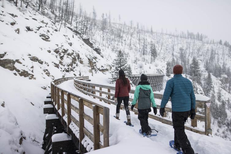 Snowshoeing Myra Canyon Trestles