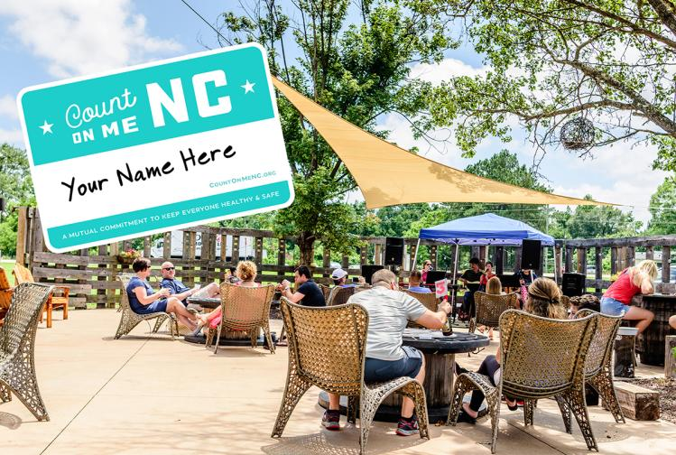Photo of the Double Barley beer garden with blue sky and sunshine with an overlay of a name badge from the Count On Me NC guest promise initiative.