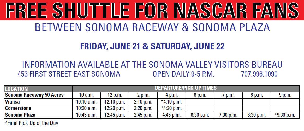 Sonoma Shuttle NASCAR Sonoma Raceway 2019