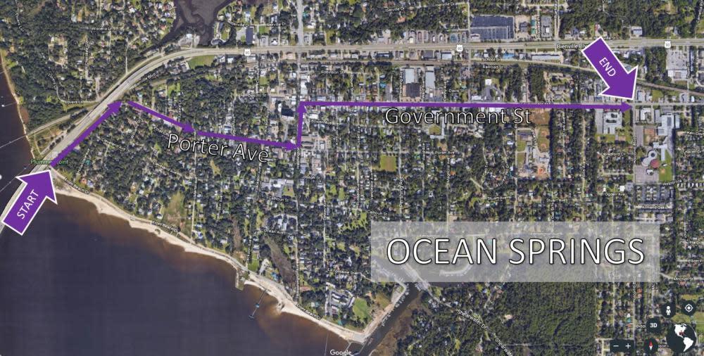 Ocean Springs Night Parade Route