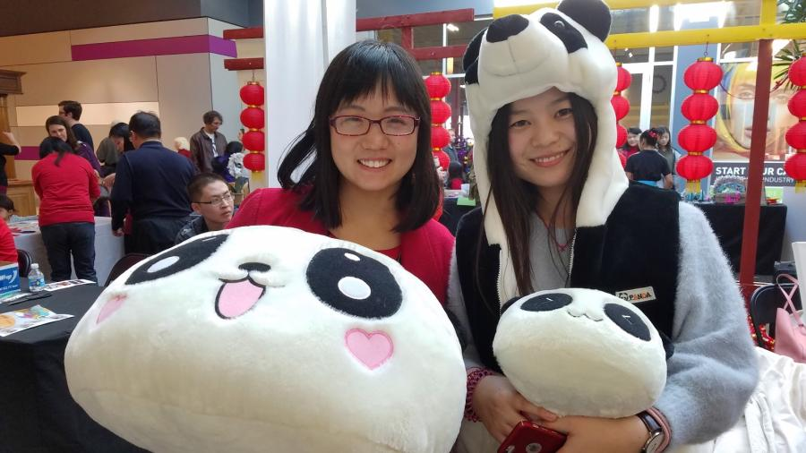 Girls with Panda costumes at Chapel Hill Lantern Festival
