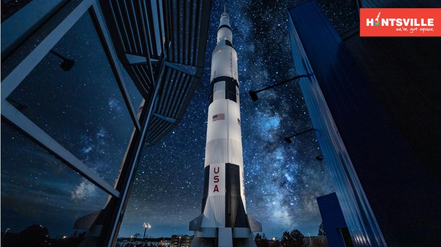 Huntsville's most famous resident, the Saturn V rocket, points towards the stars on a clear night.