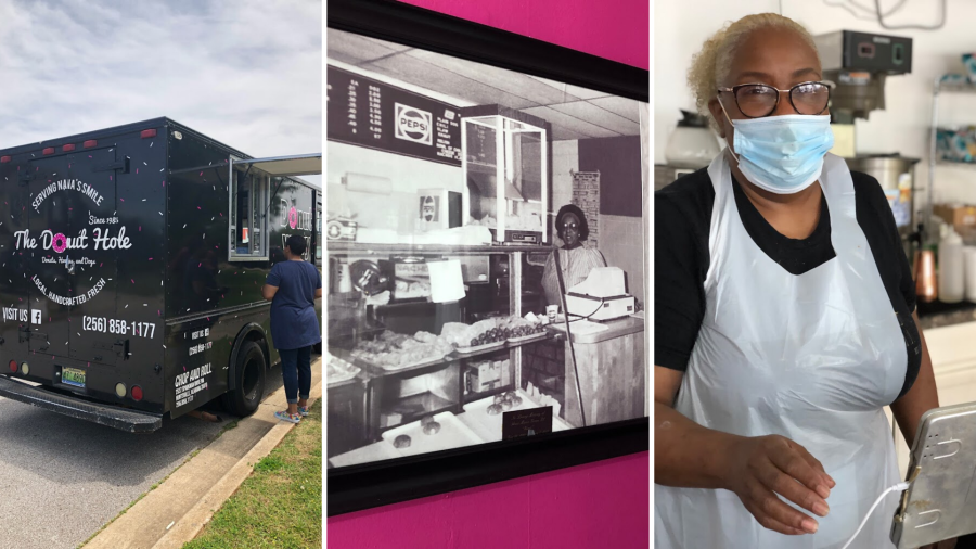 Three images of local Huntsville food-truck & Black-owned business favorite The Donut Hole.