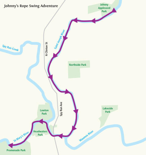 Johnny's Rope Swing Adventure Water Trail Itinerary