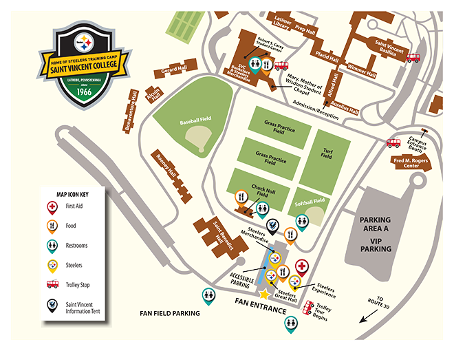 Steelers Training Camp campus map