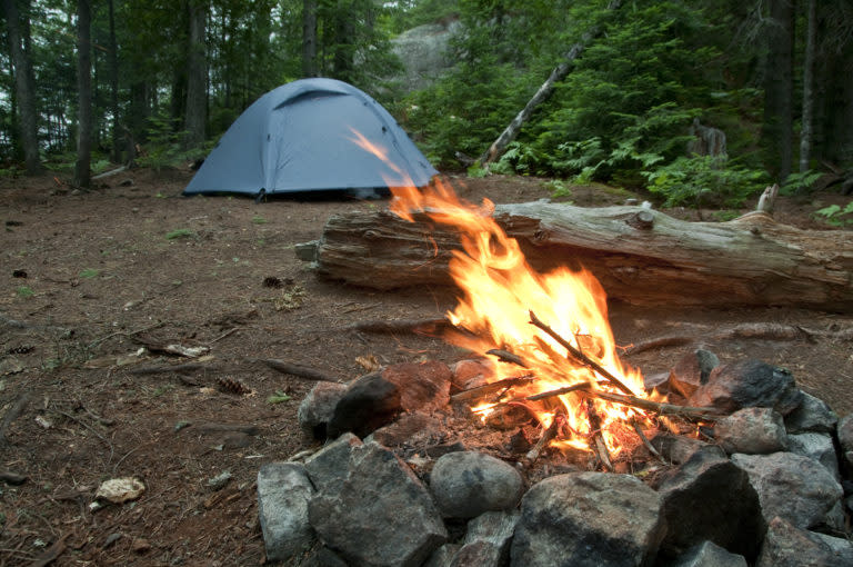 Tent And Campfire In Marquette, MI