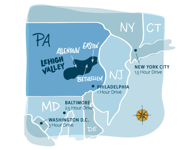 Tri-State Regional map of Lehigh Valley, PA