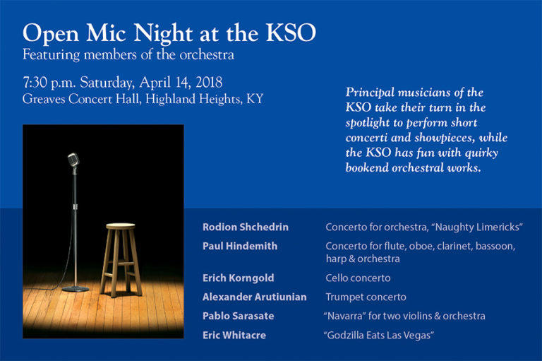 A blue poster with information for the KSO's Open Mic Night and a photo of a microphone and empty wood stool