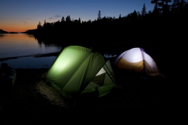 Tents On The Shore at Night In Marquette, MI