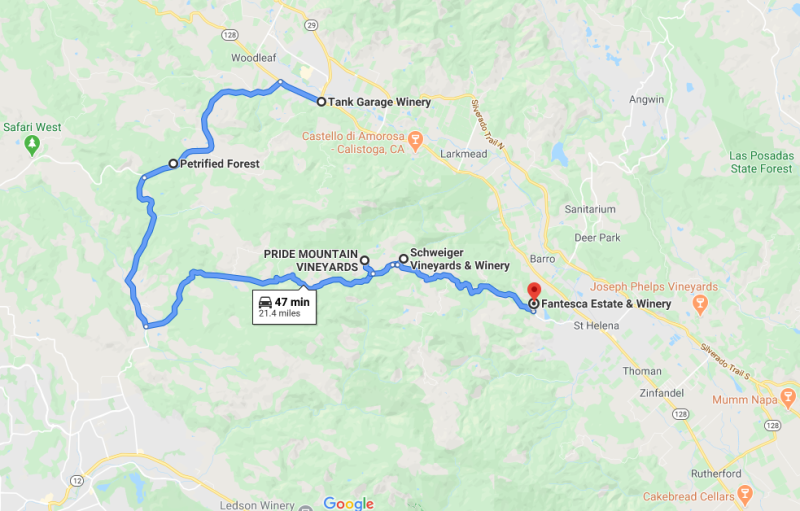 A Google Maps screenshot of the route from Calistoga to Spring Mountain in Napa Valley.