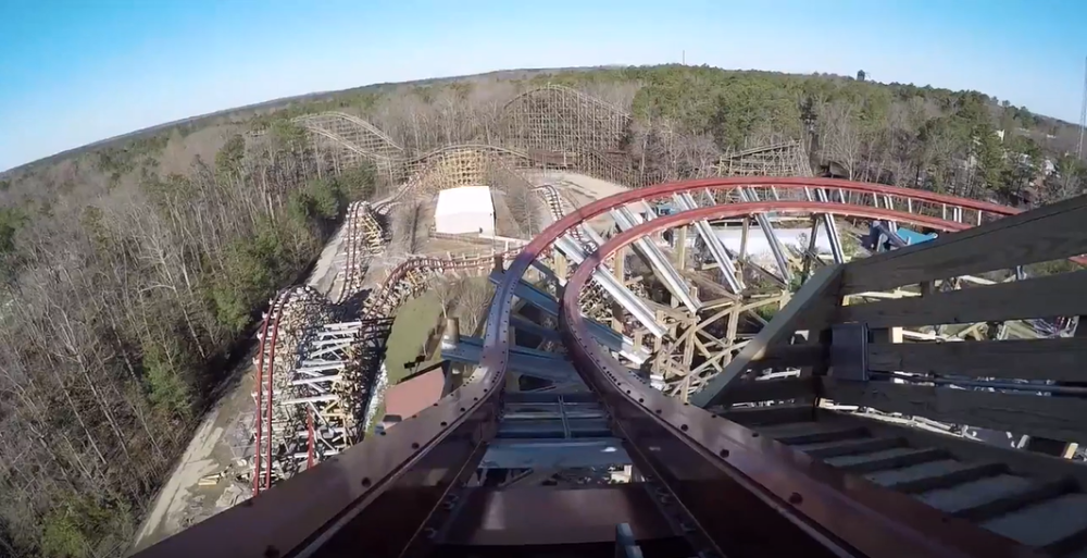 Kings Dominion Twisted TImbers point of view