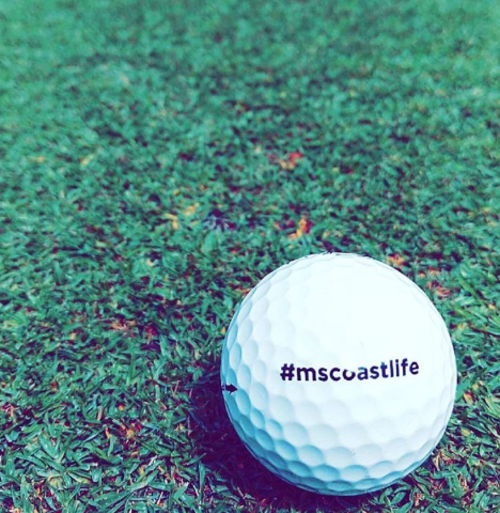 Golf ball on one of Mississippi Gulf Coast's 17 golf courses