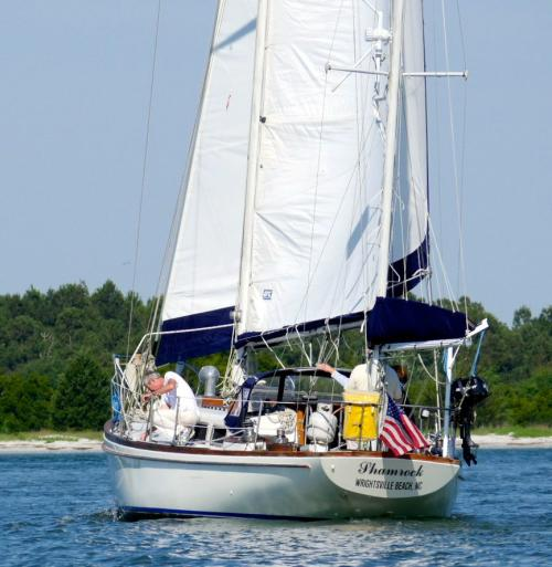 Closeup of Shamrock sailboat