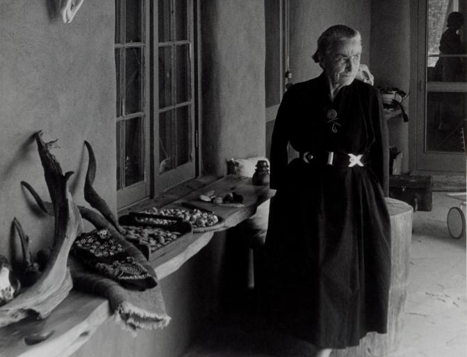 A black and white photo of Georgia O'Keeffe