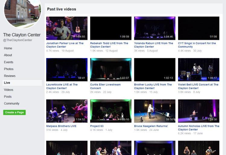 Clayton Center Live Video List Screen Shot