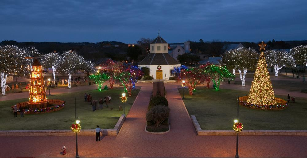Marktplatz at Christmas in Fredericksburg near austin texas