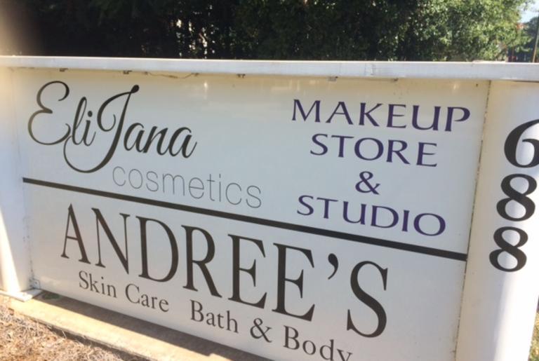 Andree's Essentials and EliaJana Cosmetics sign
