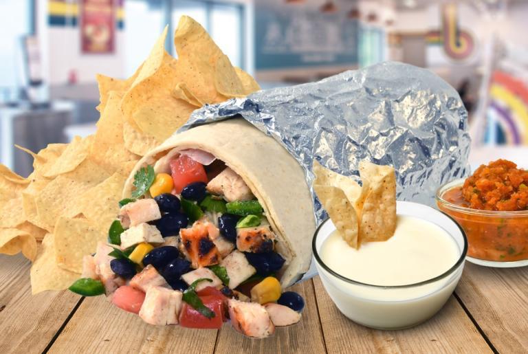 Barberitos burrito chips queso and salsa