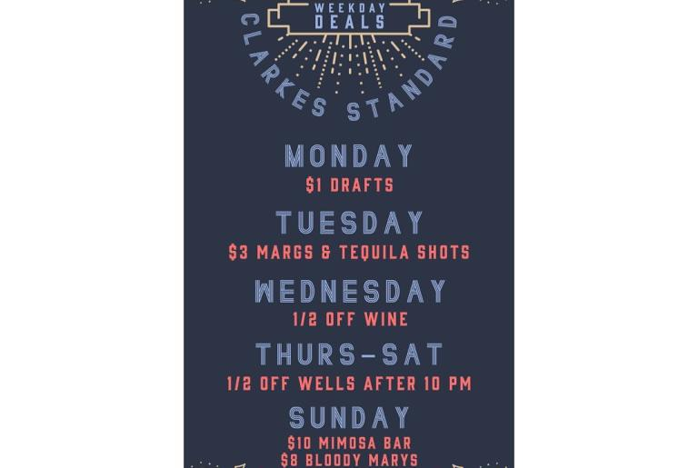 Daily Drink Specials at Clarke's Standard