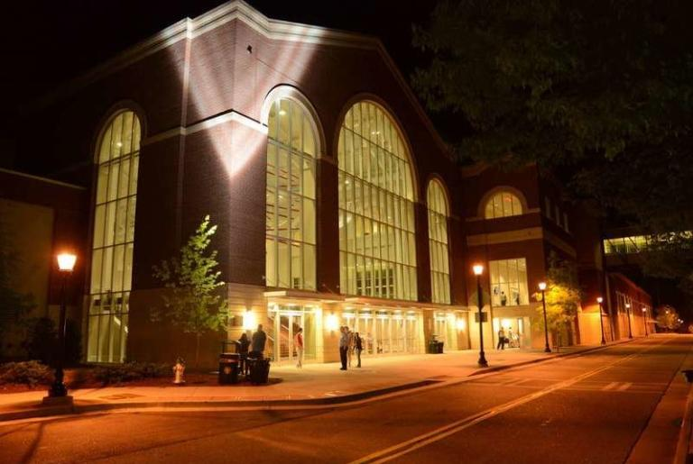 Classic Center Atrium Entrance Evening