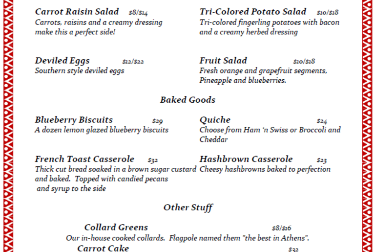 Easter Takeaway Menu Mama Jewel's 2019