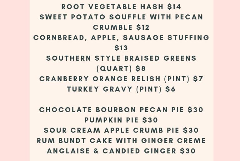 Holiday Side and Pie 2018 Menu