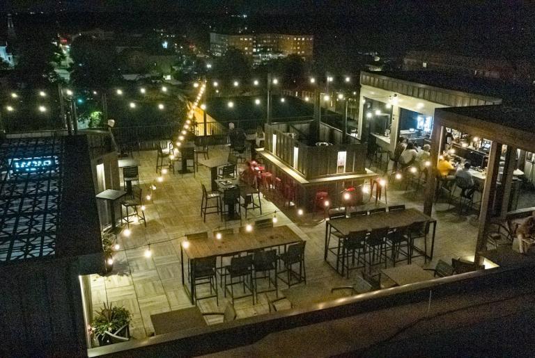 Hybar Athens night rooftop