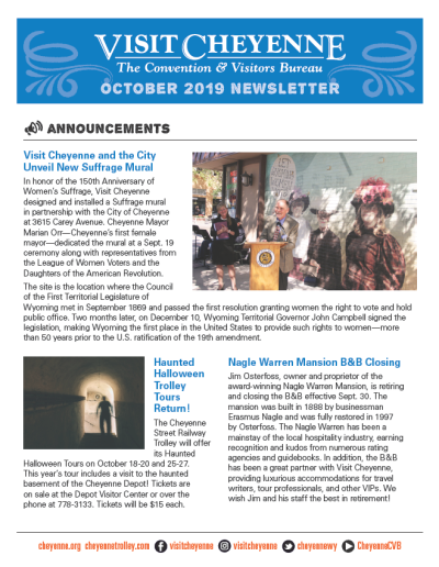 Cover of October 2019 Newsletter