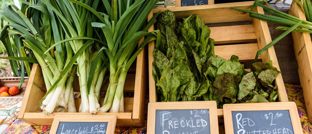 Leafy Greens for sale in wooden crates boxes with calkboard price signs