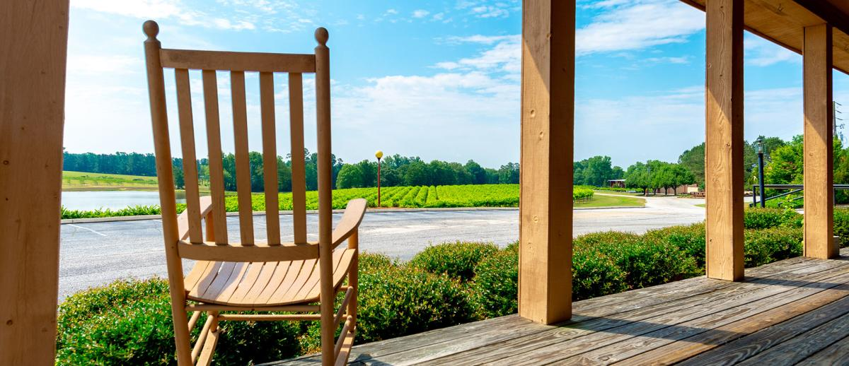 Gregory Vineyards front porch rockers perfect for relaxing in Benson, NC.