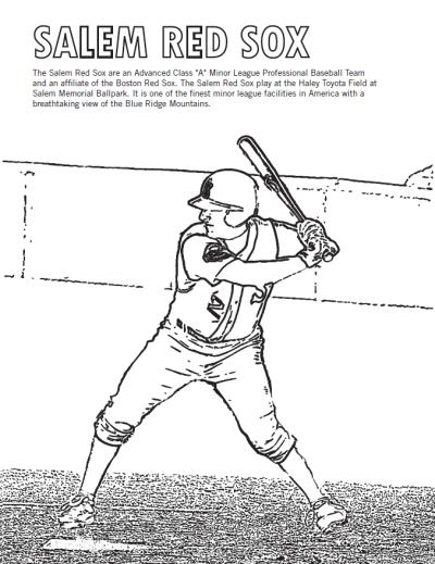 Salem Red Sox Baseball - Coloring Sheet