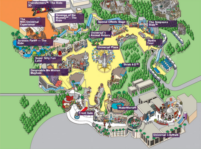 Park Map courtesy of Universal Studios Hollywood