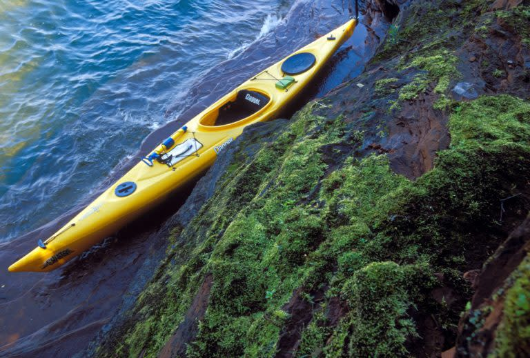 Kayak Near A Rocky Shore In Marquette, MI