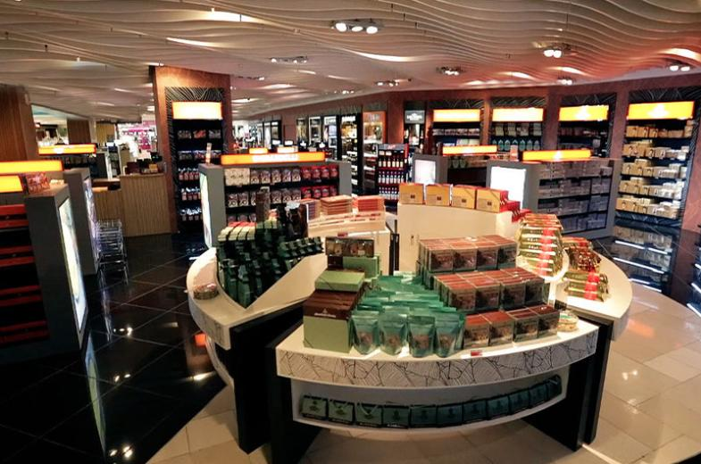 Chocolates, cookies and other well known food merchandise are available at Lotte Duty Free Guam