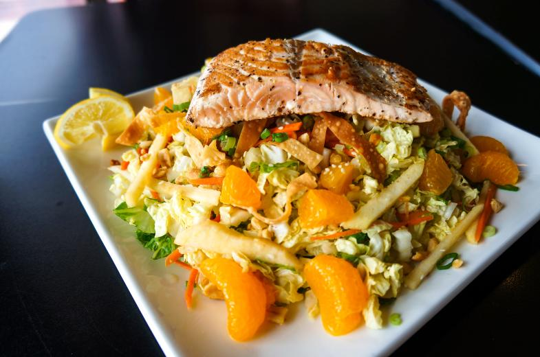 Mandarin Orange Crunch Salad with Salmon