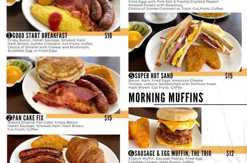 Morning Breakfast Menu