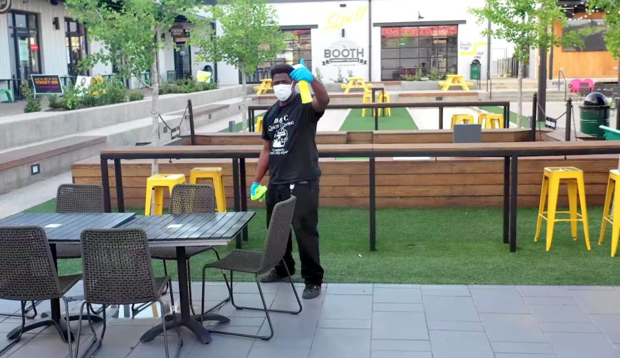 Man Cleaning At Stovehouse