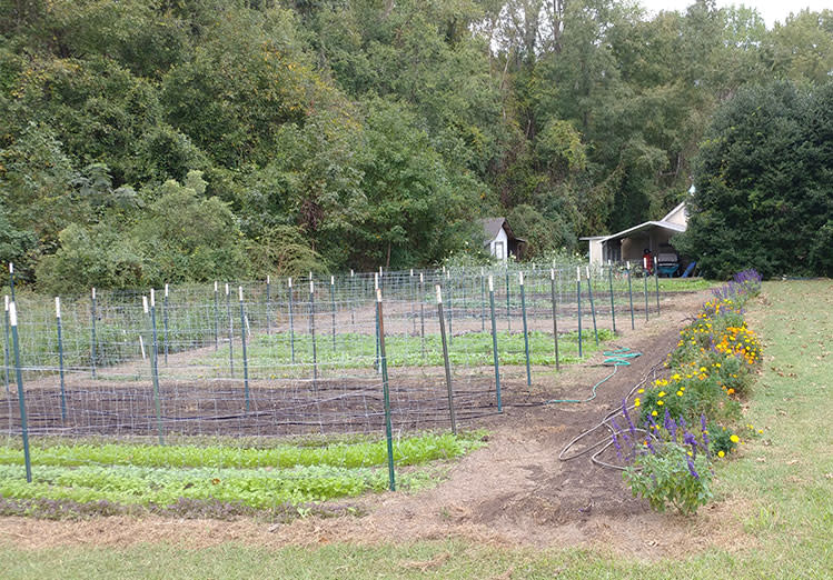 A large garden plot is actually the entirty of Under the Oak Farm in Clayton