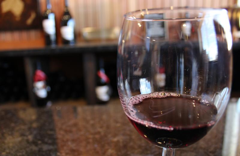 Wine Glass at Russian Ridge Winery