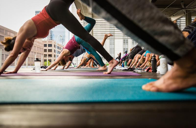 Yoga on the rooftop at Wanderlust Yoga in Austin Texas