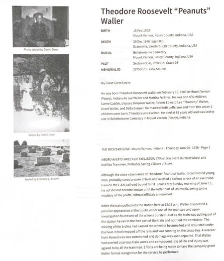 "Family history information on Theodore Roosevelt ""Peanuts"" Waller."