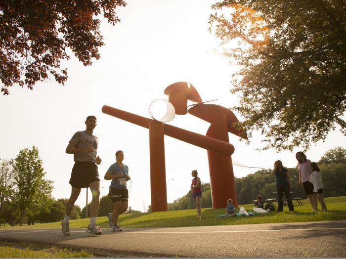 runners on the bike path
