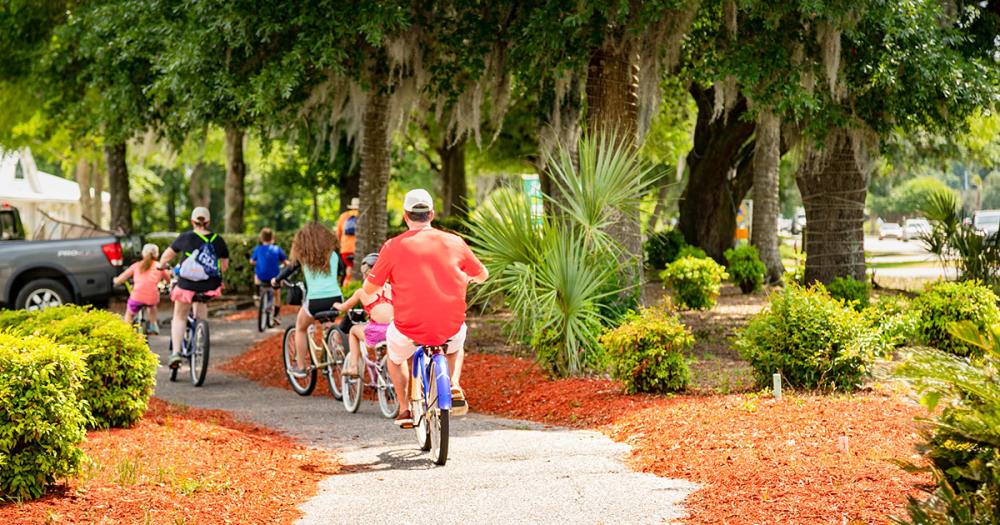 Bike riders in Litchfield Beach on Bike the Neck