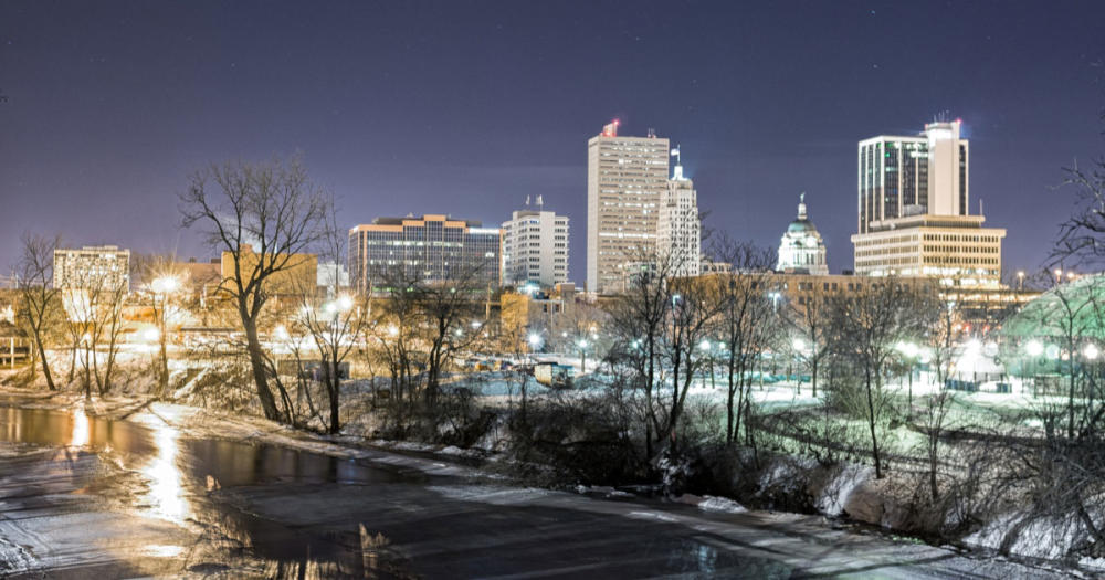 Winter Skyline at night from Headwaters Park