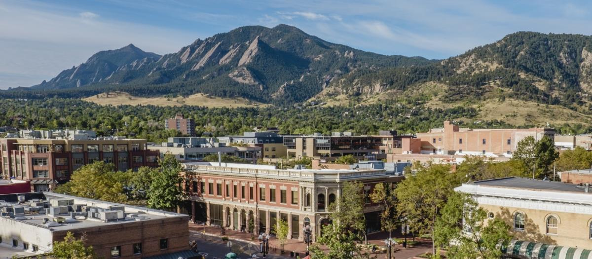 View from courthouse of Downtown Boulder with Flatirons