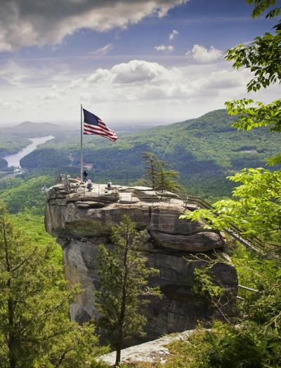 See the view from Chimney Rock near Asheville, NC