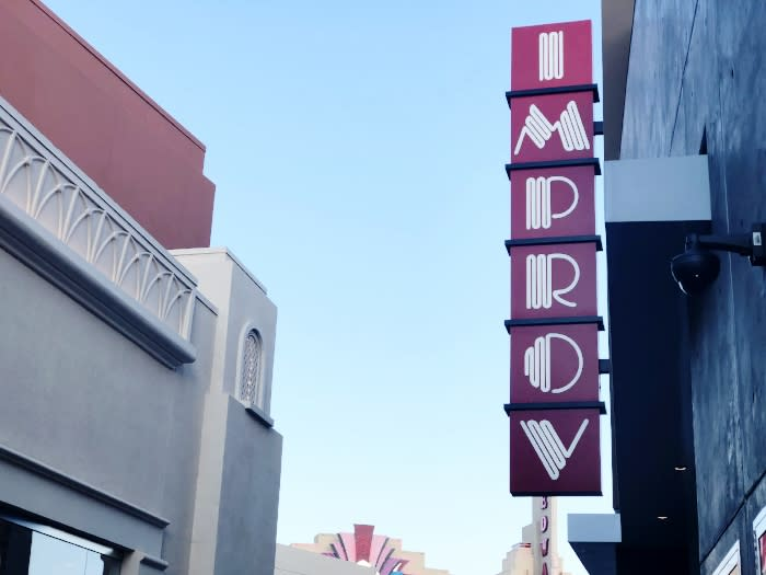 Sign outside Improv Irvine